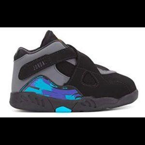 Toddler Jordan 8 Retro Black and Aqua size 6c